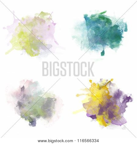 Colorful Watercolor Blobs. Set Of Watercolor Splashes For Design. Isolated On White.