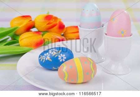 Colored Easter Eggs And Cups