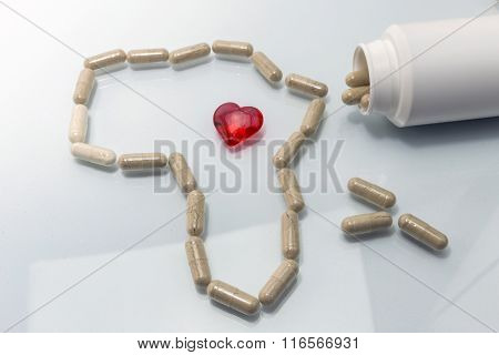 Map Africa Formed With Capsules, Red Heart Transparent Concept Of Solidarity