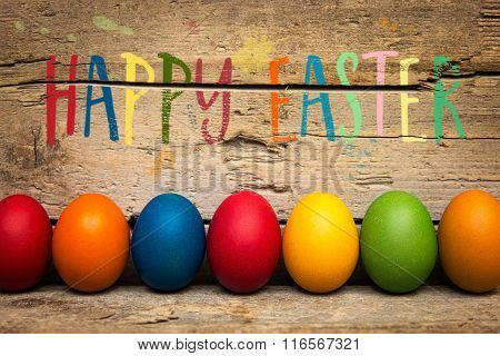 Colorful Eggs And Text Happy Easter