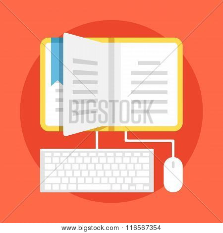 Learning flat illustration. Home education, contemporary education with technology usage