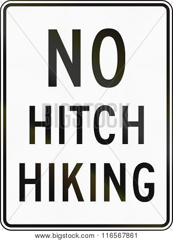 United States Mutcd Regulatory Road Sign - No Hitchhiking