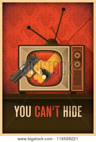 Conceptual illustration with tv and gun. Vector illustration.