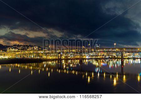 Marquam Bridge Over Willamette River At Night