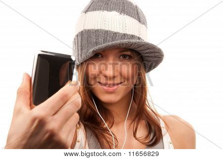 Pretty Young Girl Showing Cellular Mobile