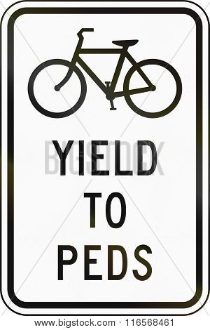 United States Mutcd Regulatory Road Sign - Yield To Pedestrians