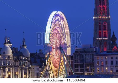 Cathedral Of Our Lady In Antwerp And The Wheel