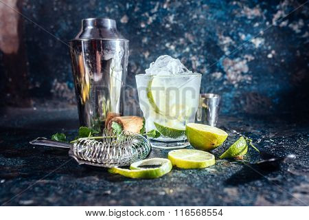 Frozen Alcoholic Cocktail, Refreshment Drink With Vodka And Lime Served At Bar