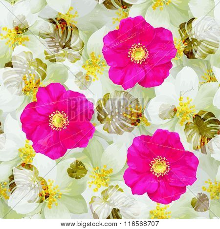 Vintage Seamless pattern of jasmine flowers and bright pink wild roses