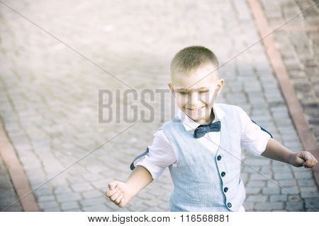 Child Running Fun, With Dress Heavenly