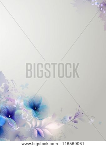 blue floral composition with leaves and butterfly
