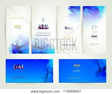 Six blue and white abstract banners.