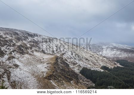 Snowy White And Misty Landscape In Wicklow Gap In Ireland