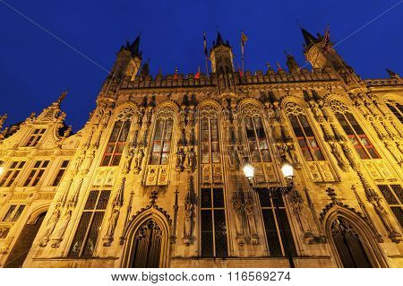 Bruges City Hall On Burg Square