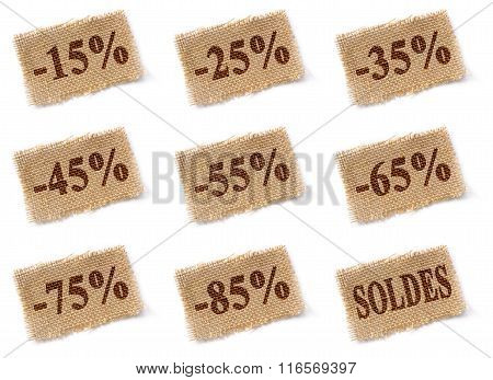 Fabric Tag With Discounts Soldes Set