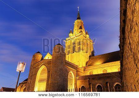 Eglise Notre-Dame Cathedral in Calais. Calais Nord-Pas-de-Calais-Picardy France. ** Note: Visible grain at 100%, best at smaller sizes