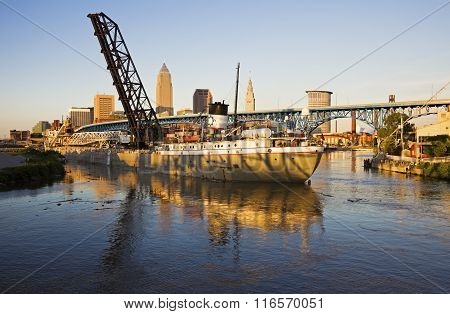 Large Ship Entering The Port Of Cleveland