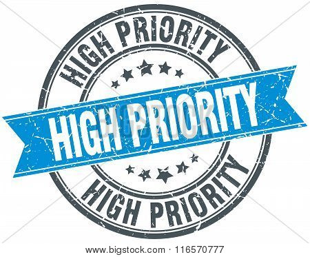 High Priority Blue Round Grunge Vintage Ribbon Stamp