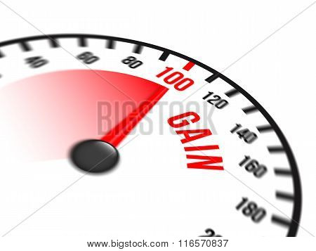 Speedometer Focused On A Hundred Percent Gain