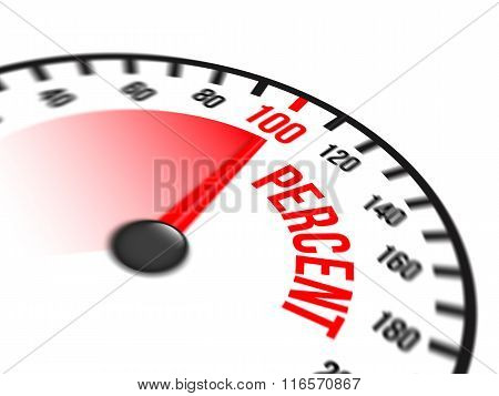 Speedometer Focused On A Hundred Percent