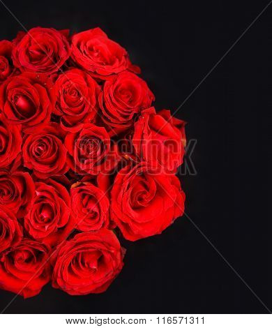 beautiful bouquet red rose isolated on black