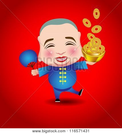 Chinese New Year  Man With Smile Mask On Red Background