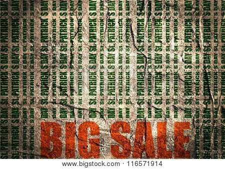 St. Patricks Day Text Bar Code. Concrete Textured Backdrop