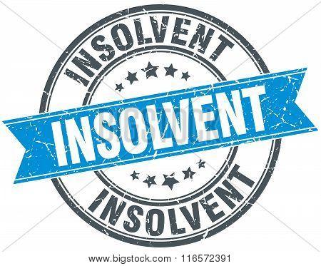 insolvent blue round grunge vintage ribbon stamp