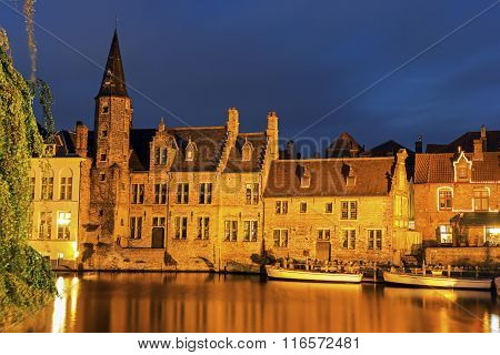 Architecture Of Bruges At Sunset