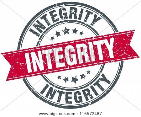 integrity red round grunge vintage ribbon stamp