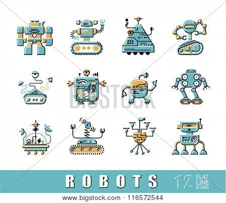 Collection of flat line robot icons. Vector set of various types of robots.