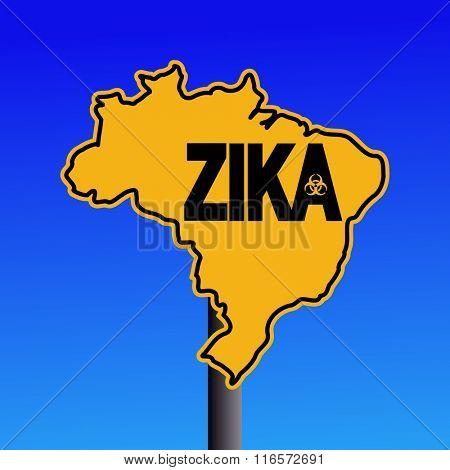 Zika virus warning Brazil map sign on blue illustration