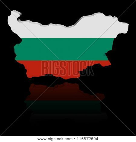 Bulgaria map flag with reflection illustration