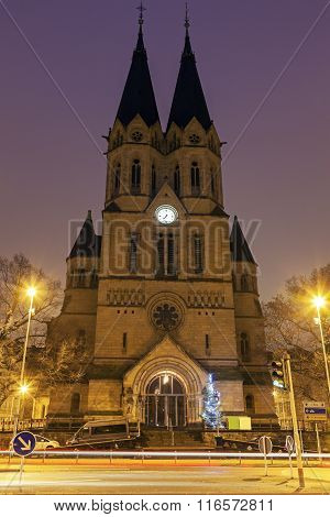 Ringkirche In Wiesbaden At Sunrise