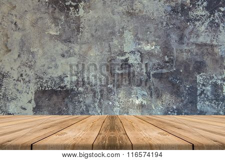 Empty Wooden Table Top At Concrete Wall - Can Be Used For Display Or Montage Or Mock Up Your Product