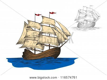 Old sailing ship among ocean waves