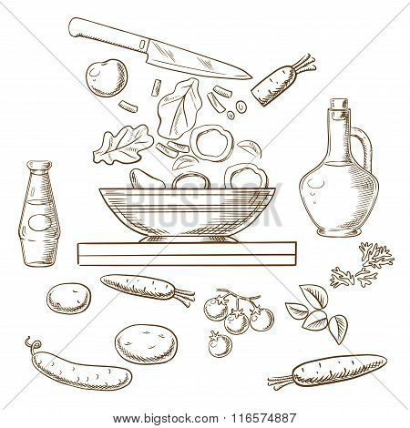 Vector sketch of cooking salad process