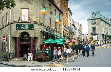 Quebec City Canada - Sept. 8 2015: Quebec's Old City is bustling with visitors and competitors for the international bicycling event.