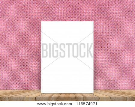 Blank white paper poster at tropical plank wooden floor and paper wall.