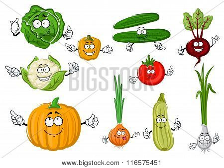 Fresh and tasty cartoon farm vegetables