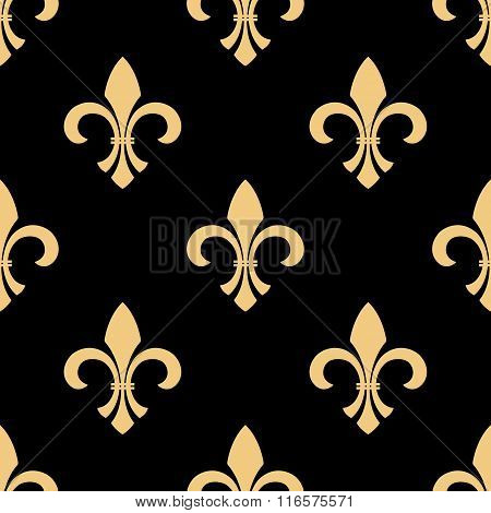 Yellow and black fleur-de-lis pattern