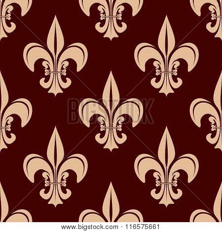 Seamless brown fleur-de-lis floral pattern