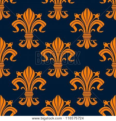 Orange floral fleur-de-lis seamless pattern