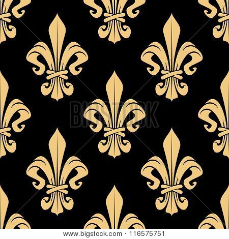 Seamless vintage golden fleur-de-lis pattern
