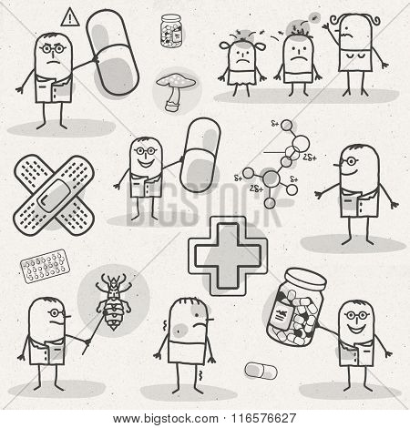 set of medical black and white cartoons - PHARMACEUTICALS