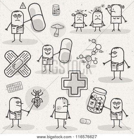 set of medical black and white cartoons - PHARMACEUTICALS