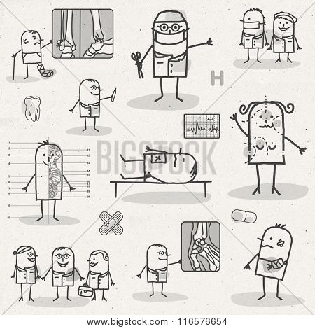 set of medical black and white cartoons - HOSPITAL AND SURGERY