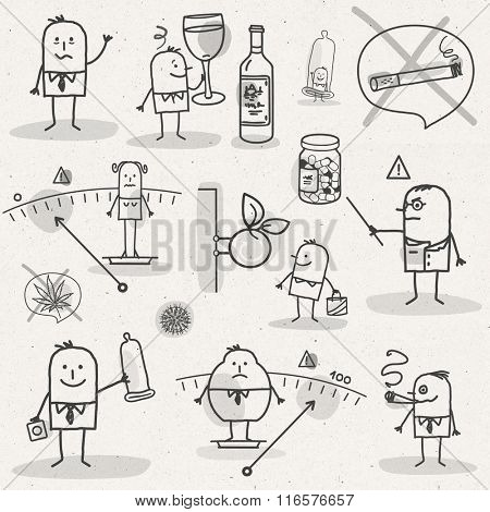 set of medical black and white cartoons - LIFESTYLE AND ADDICTIONS