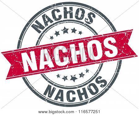nachos red round grunge vintage ribbon stamp