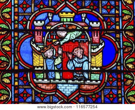 Angels King Castle Paris Stained Glass Notre Dame Cathedral Paris France